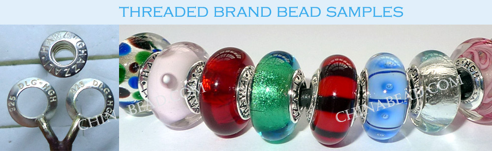 threaded silver hole brand logo stamped bead samples