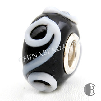 925 silver double core and murano glass bead
